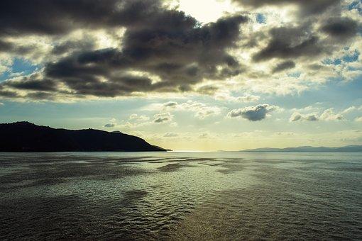 Landscape, Sea, Sky, Clouds, Shadows, Overcast
