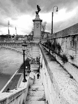 Rome, Lazio, Italy, Bridge, Ponte Sant'angelo, Lamppost