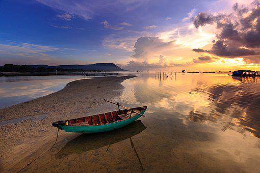 Sunset, The Boat, The Fishermen, Sky, Clouds, Colorful