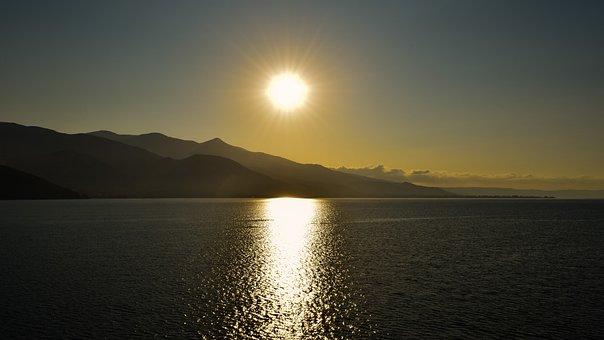 Greece, Pagasitikos Gulf, Pelio, Sunrise, Sun, Sunlight