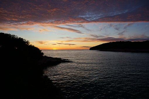 Sunset, Croatia, Landscape, Booked, Water, Wave