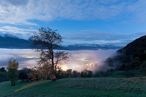 Night, Liechtenstein, Switzerland, Alpstein, Morning