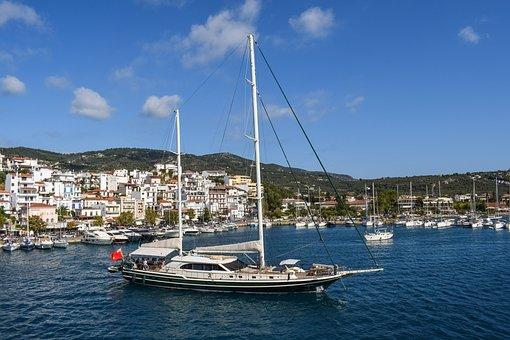 Greece, Skiathos, Chora, Town, Port, Yacht, Island