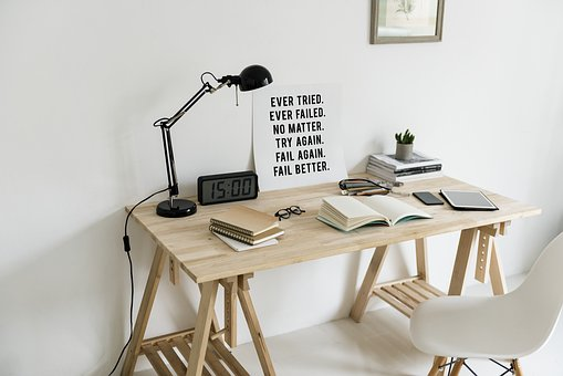 Workspace, Wooden Table, Lamp, Book, Design Space