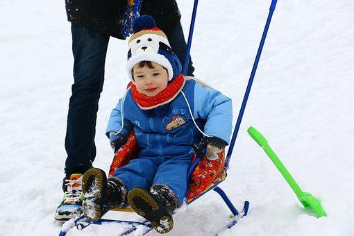 Sled, Winter, Gorka, Child, Snowdrift