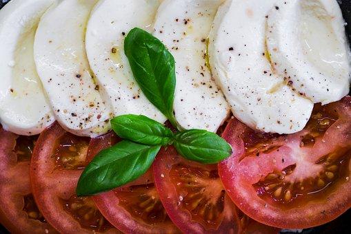 Tomatoes, Mozzarella, Basil, Salad, Eat, Healthy, Food