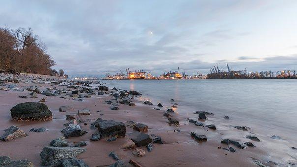 Elbe, Hamburg, Port, Water, Elbe Beach, Beach, Sea