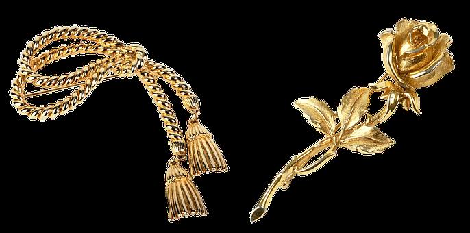 Barrette, Ornament, Jewelry, Golden Rose
