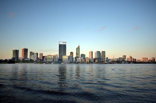 Perth, Western, Australia, Wa, Water, City, Sunset