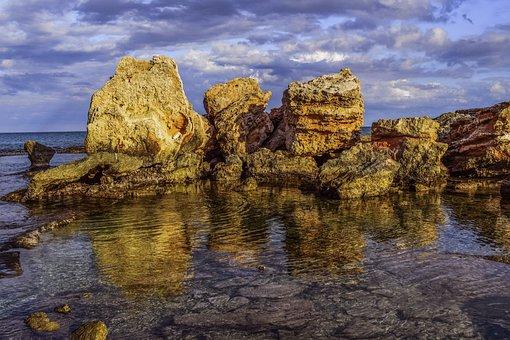 Rocky Coast, Rock, Formation, Sea, Horizon, Nature