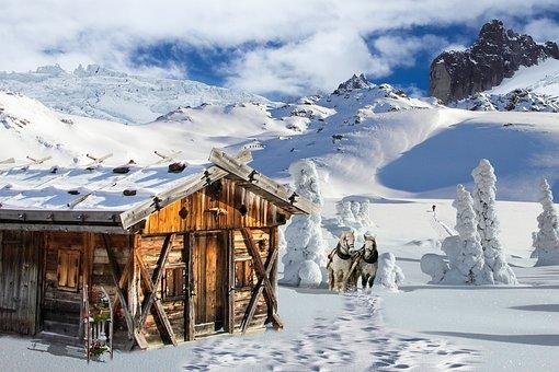 Nature, Winter, Landscape, Wintry, Snowy, Hut, Snow