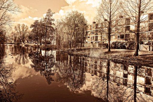 Flats, Apartment Block, Residential, Suburban, Canal