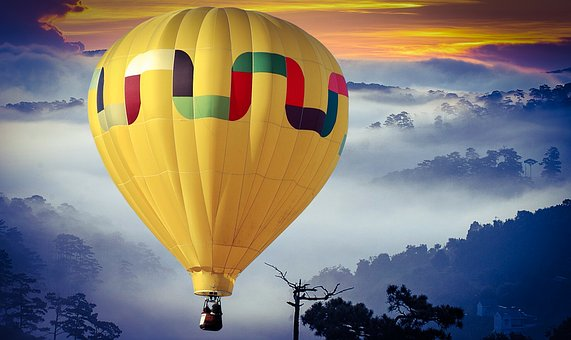 Balloon, Traveling, Tourism, Sky, Cloud, Cloudy, Yellow
