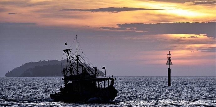 Sunset, Evening, Fishing, Trawler, Boat, Sea, Malaysia