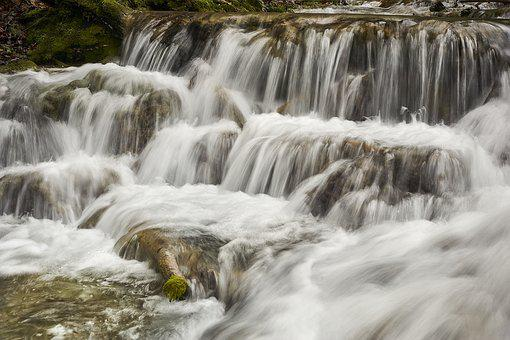 Waterfall, Flow, Water, Nature, Murmur, Bach, Rock