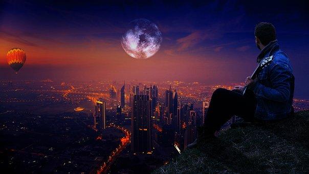 Sky, Man, Moon, Outdoor, Male, Blue, Cloud, Night