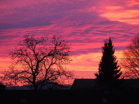 Afterglow, Sky, Purple, Evening Sky, Clouds, Mood