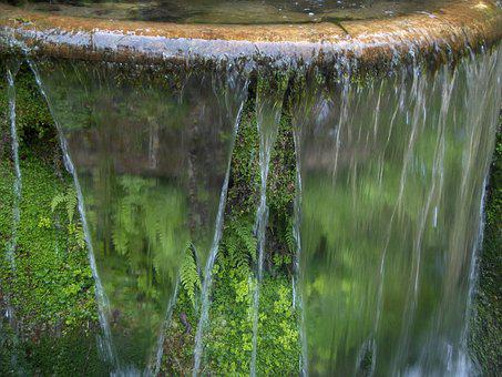 Fountain, Water, Flow, Close