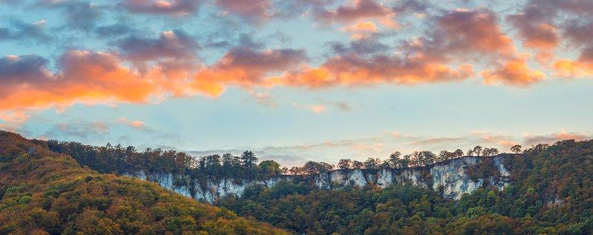 Landscape, Forest, Mountains, Rock, Rocky, Sunset