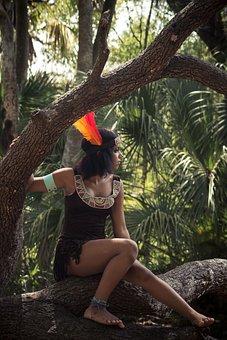 Girl, Tree, Dress-up, Costume, Outside, Green