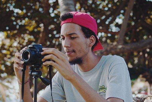 People, Adult, Portrait, Man, Camera, Lens, Cap, Trees