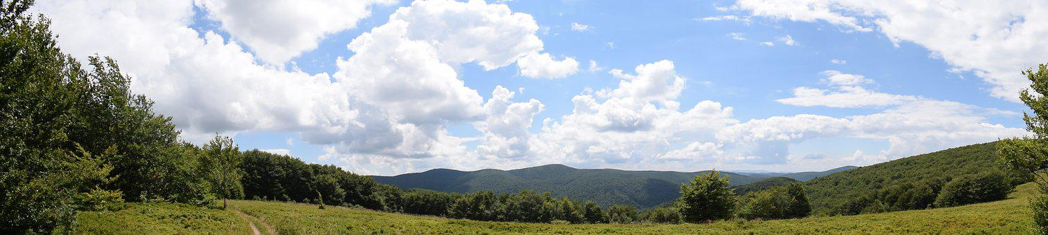 Panorama, Mountains, Sky, Nature, Poland, Bieszczady