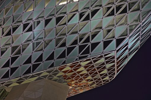 Building, Evening, Office, Reflections, Windows, Modern
