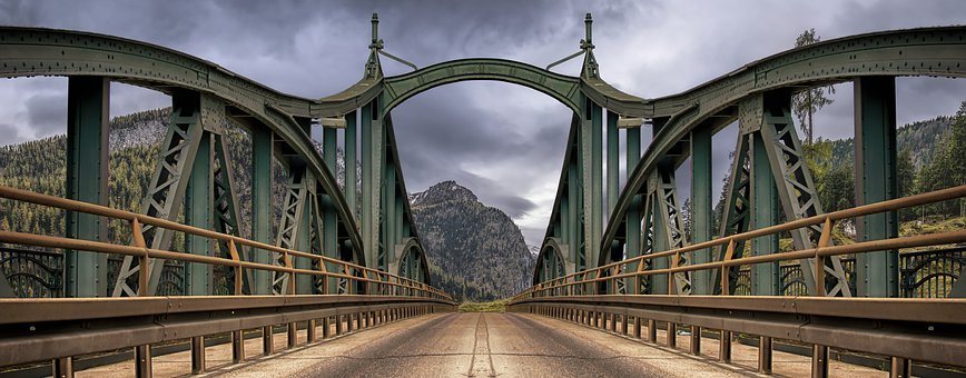 Bridge, Mountains, Road, Journey, Into The Distance