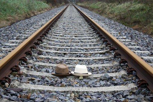 Railroad, Hat, Straw Hat, Pair, Duet, Summer Hat