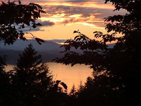 Canada, Sunset, Water, Idyllic, Trees