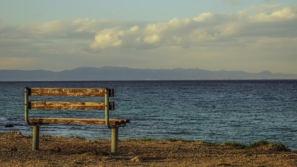 Bench, Seaside, Sea, Horizon, Sky, Clouds, View Point
