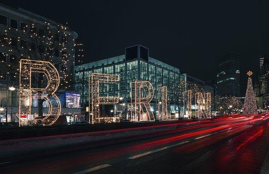 Berlin, City, Font, Christmas, Christmas Lights