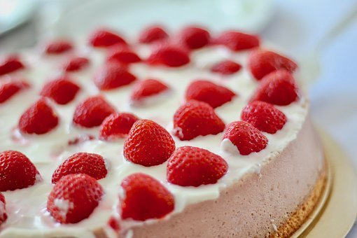 Strawberries, Cake, Sweet, Red, Bake, Delicious, Eat