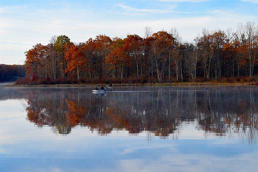 Lake, Morning, Fall, Foliage, Fishing Boat, Fisherman