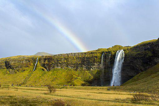 Waterfall, Iceland, Landscape, Rainbow, Natural, Green