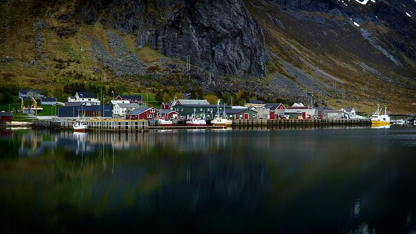 Lofoten, Village, Port, Water, Boats, Norway, North