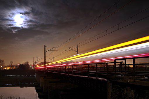Railroad, Travel, Train, Railway Line, Night, Speed