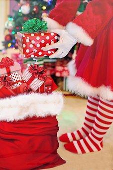 Santa Woman, Presents, Christmas Gifts, Santa's Bag