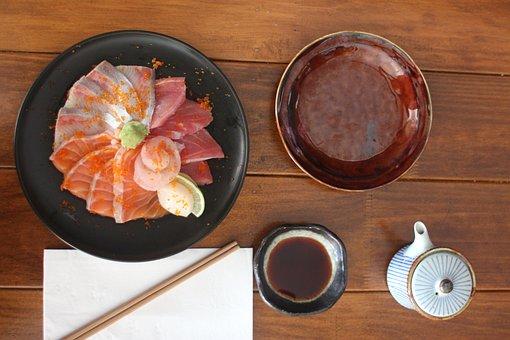 Sushi, Sashimi, Salmon, Tuna, Fish, Seafood, Japanese