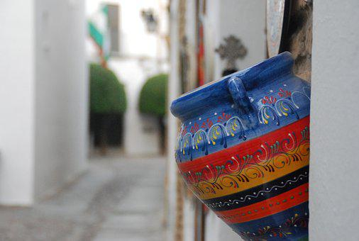 Flowerpot, Cordoba, Andalusia, Spain, Lane