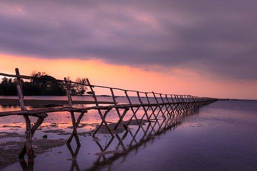 Sunset, The Sun, Wooden Bridge, Pier, The Sea