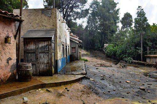 Village, Rain, Downpour, Flood, Water, Drop