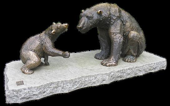 Bear, Mother Bear, Bear Child, Bronze Statue