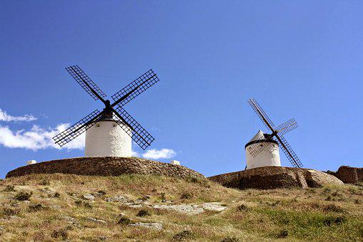 Spain, Windmill, Don Quixote, La Mancha, Wind, Mill
