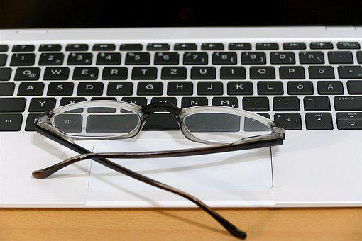 Keyboard, Glasses, Workplace, Office, Business, Laptop