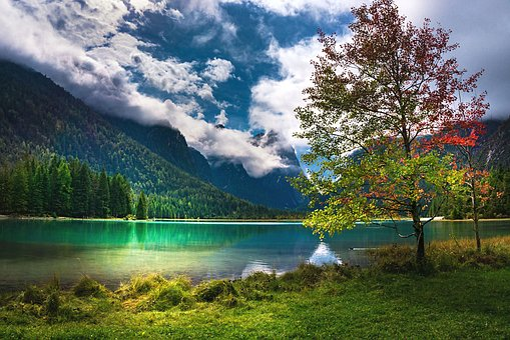 Nature, Landscape, Mountains, Lake, Clouds, Mood