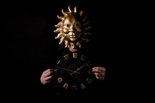 Time, Sun, Mask, Sundial, Pointer, Time Of, Hour