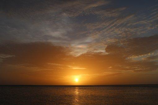 Sea, Sun, Beach, Nature, Sky, Clouds, Sunset, Light