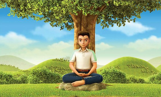Meditation, Boy, Nature