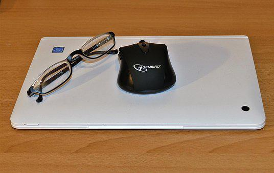 Laptop, Glasses, Pc Mouse, Workplace, Office
